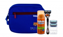 Gillette Fusion Proglide Shave Machine With One Head 1 pcs + Spare heads 2 pcs + Shave Gel 75 ml + Cosmetic Bag miehille 61868