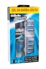 Gillette Mach3 Turbo Spare Heads 8 pcs + Shave Gel Extra Comfort 200 ml miehille 20292