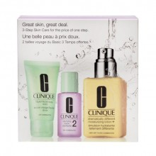 Clinique 3 Step Great Skin Care Dry Combination 125ml Dramatically Diff. Mois. LotionPlus + 30ml Liquid Facial Soap Mild + 30ml Clarifying Lotion 2 naisille 76025