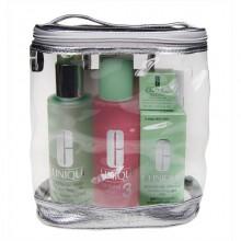 Clinique 3step Skin Care 3 200ml Liquid Facial Soap Oil + 200ml Clarifying Lotion 3 + 50ml DDM Gel + 5ml All About Eyes + Bag naisille 38399