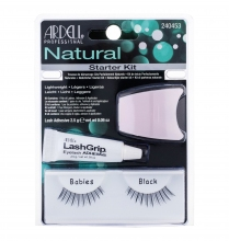 Ardell Natural False Eyelashes 1 pair + Adhesive Material On Eyelashes 2,5 g + Applicator Black naisille 11666