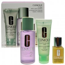 Clinique 3-Step Skin Care 4 50ml Liquid Facial Soap + 100ml Clarifying Lotion 4 + 30ml DDMgel naisille 64080