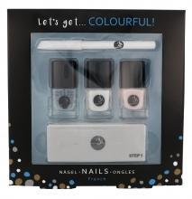 2K Let´s Get Colourful! French Nail Polish nail polish 3x 5 ml + Nail pencil 2 g + Nail File 1 pc naisille 41710