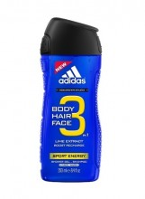 Adidas 3in1 Sport Energy Shower gel 400ml miehille 20449