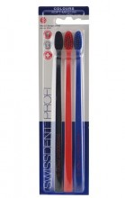 Swissdent Colours Toothbrush 3pc Black, Red, Blue unisex 96121